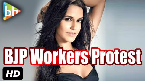 BJP Workers Protest Outside Neha Dhupia's Residence