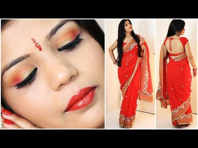 GRWM Indian Party Makeup And Saree Outfit