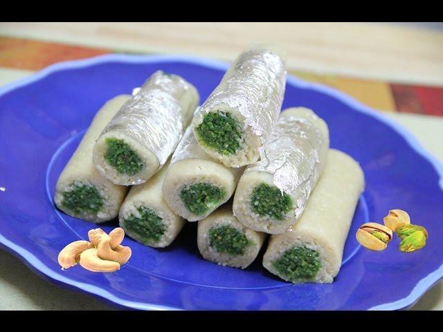 Kaju Pista Rolls Video Recipe | Diwali Recipe | Cashew Pistachio Rolls