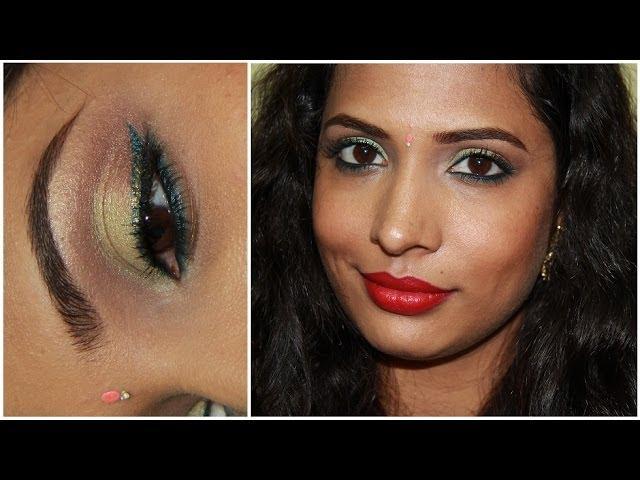 Diwali 2013 Makeup & Outfit : Indian Party Makeup : Peach Green Blue Brown Glitter Makeup