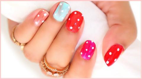 Quick & Easy Nail Art   Polka Dot Design on Nails   ShrutiArjunAnand