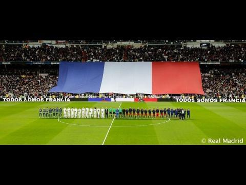 Así se vivió en el Bernabéu el minuto de silencio en honor a las víctimas de París