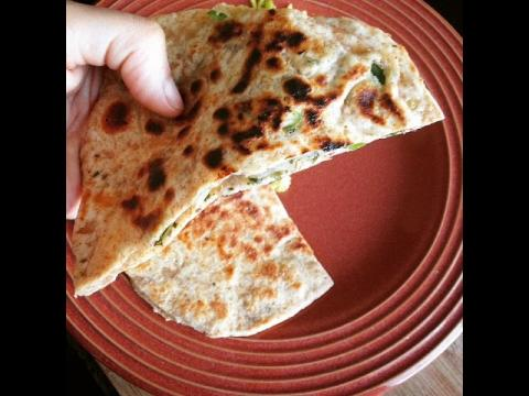 Spicy Green Chilli-Onion Naan (stuffed Masala Naan recipe)