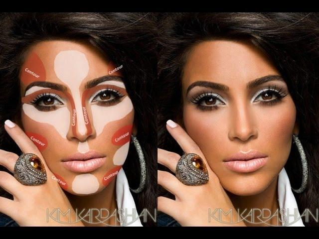 How To Highlight and Coutour Face With Makeup,KIM K CONTOURING ...