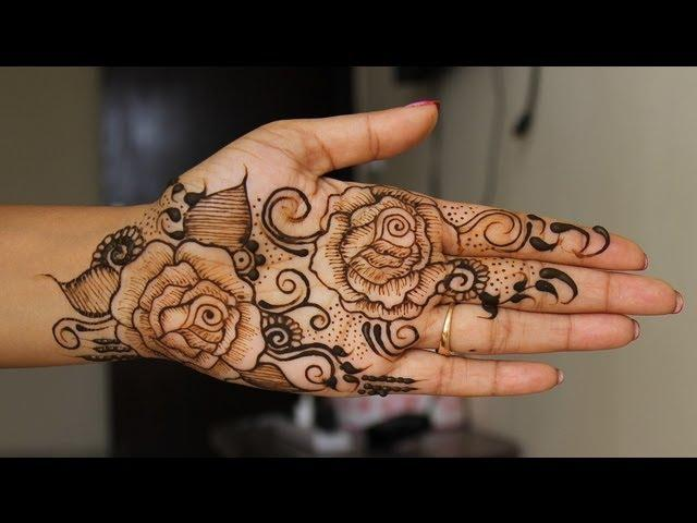 Full Hand Navratri Special Rose Henna Design Learn Bridal Indian