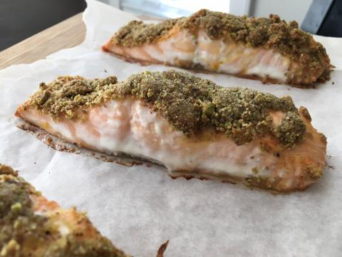 Pistachio Crusted Baked Salmon Recipe (Easy Salmon Recipes)