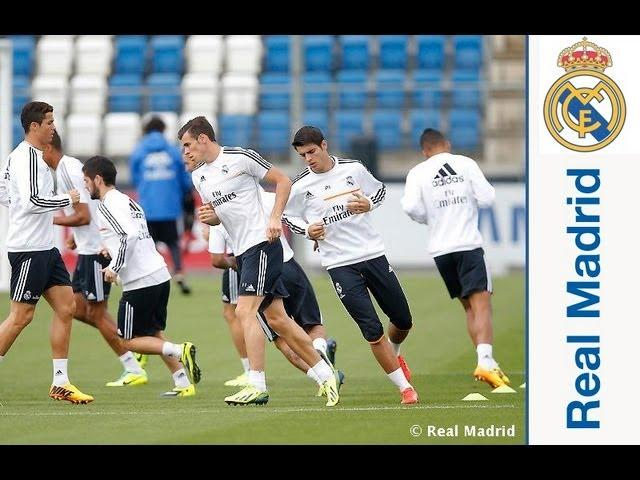 Real Madrid complete the first session prior to the match against Copenhagen