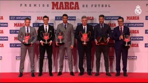 Cristiano Ronaldo collects his 2014-15 Pichichi Trophy