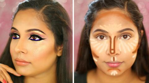 How To: Contour & Highlight | Arabic Eyeliner | Indian Drugstore Products | ShrutiArjunAnand