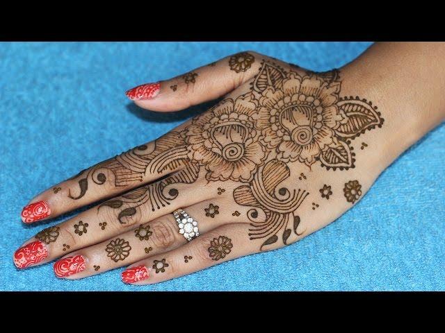 Blooming Rose Henna Design For Full Hand Henna Mehndi Tutorial